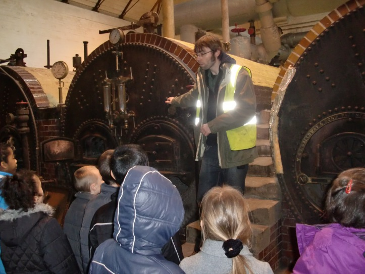 Children learn about the steam at Papplewick Pumping Station